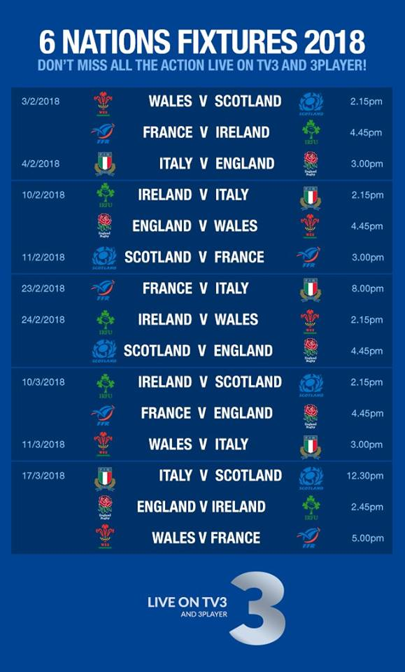 Six Nations Fixture List